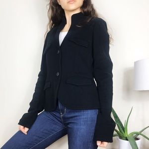 James Perse Shrunken Military Blazer Jacket Black